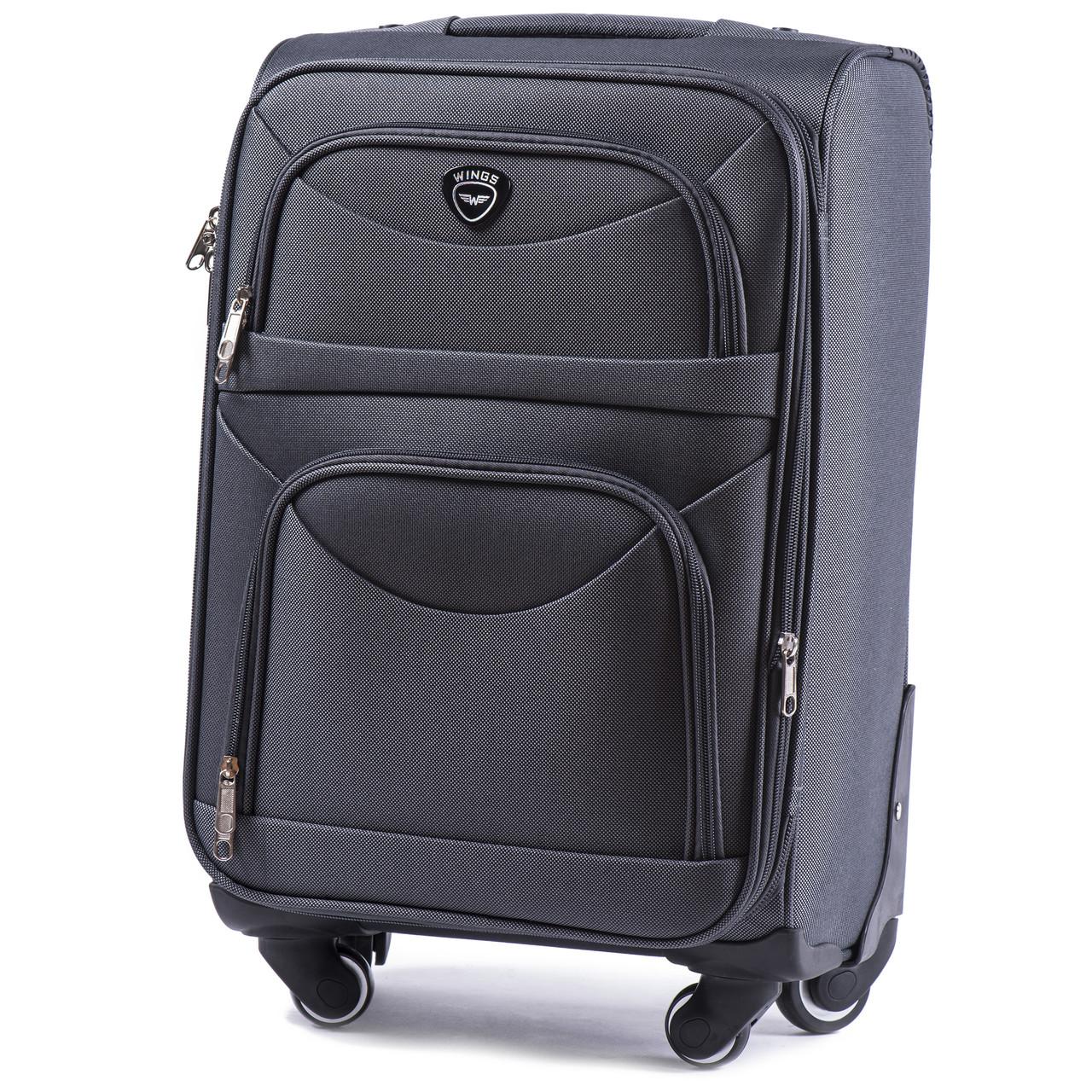 Большой тканевый чемодан Wings 6802 на 4 колесах серый