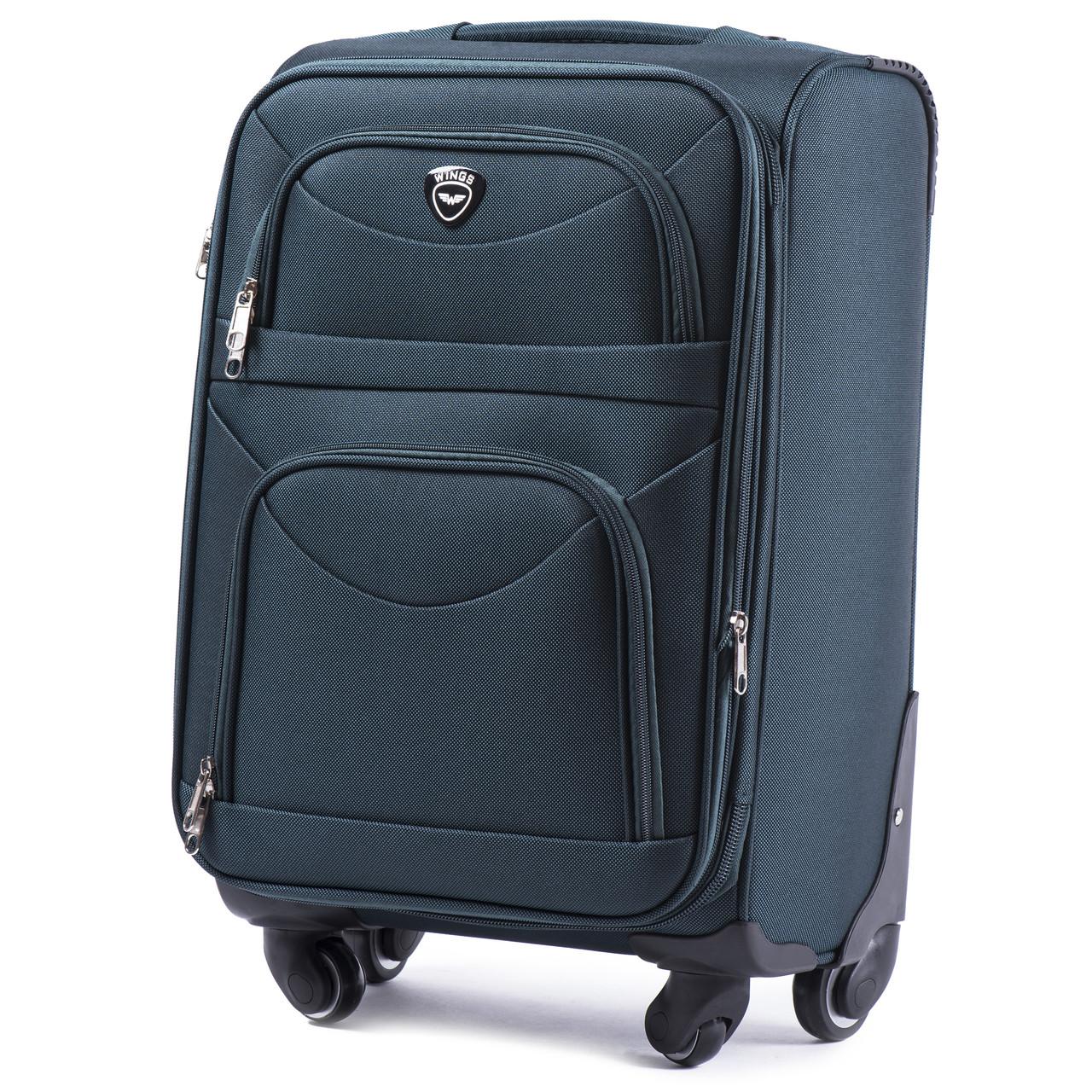 Большой тканевый чемодан Wings 6802 на 4 колесах зеленый
