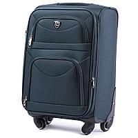 Большой тканевый чемодан Wings 6802 на 4 колесах зеленый, фото 1