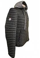 Cтеганая демисезонная куртка с капюшоном, черная, фото 1