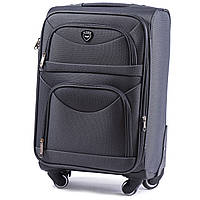 Средний тканевый чемодан Wings 6802 на 4 колесах серый