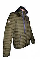 Демисезонная стеганая куртка с трикотажным капюшоном, хаки, фото 1