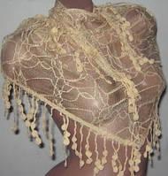 Ажурная шарф косынка бежевого цвета, фото 1