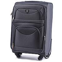 Малый тканевый чемодан Wings 6802 на 4 колесах серый