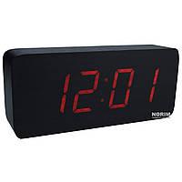 Настольные часы Led Woden Clock (VST-865-1) Черные с красной подсветкой