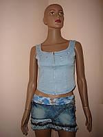 Майка - топ джинсовая на молнии размер 26
