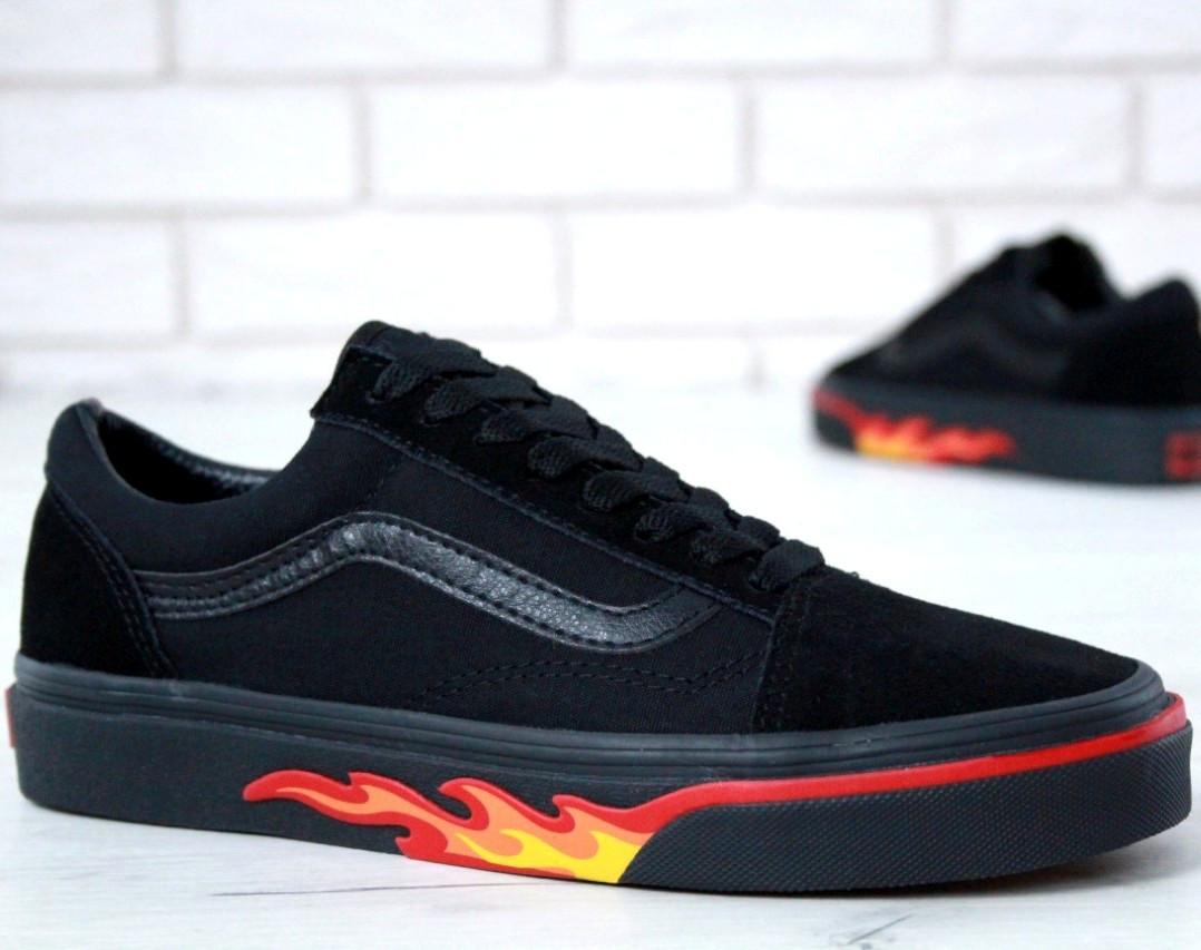 Кеды Vans Old Skool Black Flames (унисекс), vans old school, ванс олд скул