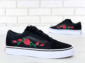 Женские кеды Vans Old Skool Roses, vans old school, ванс олд скул, фото 3