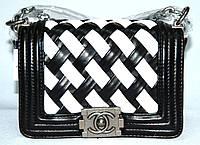 Женская сумка клатч Chanel Boy (Шанель Бой) 9802-1 черная с белым
