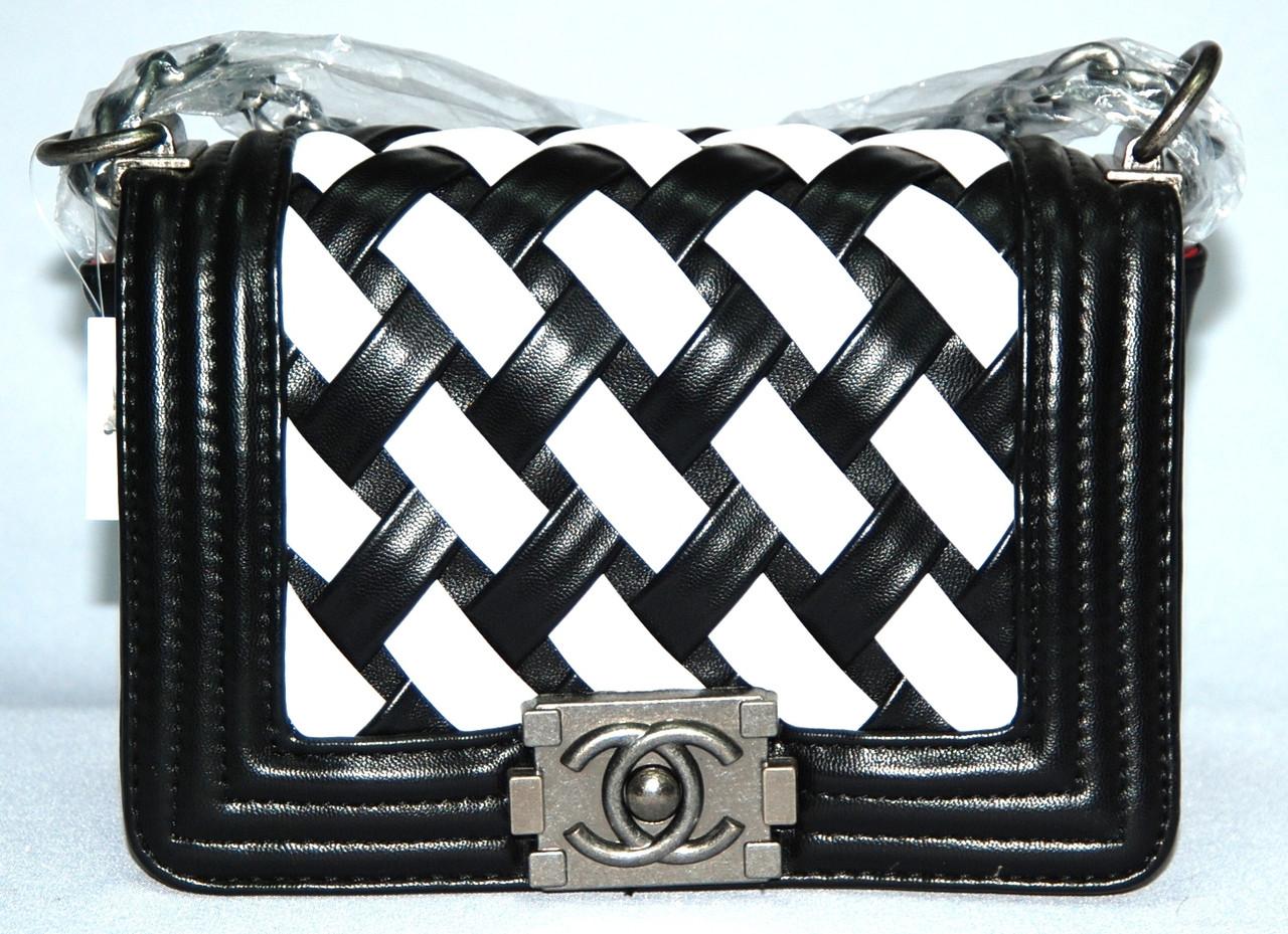 9765a3f1ee55 Женская сумка клатч Chanel Boy (Шанель Бой) 9802-1 черная с белым ...