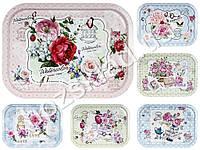 """Поднос раздаточный """"Flowers"""" металл. прямоугольный 40х1,5х28,7см расцветки ассорти (цена за 1шт)"""