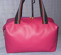 Спортивная сумка 012384 розовая гладкая эко-кожа, фото 1