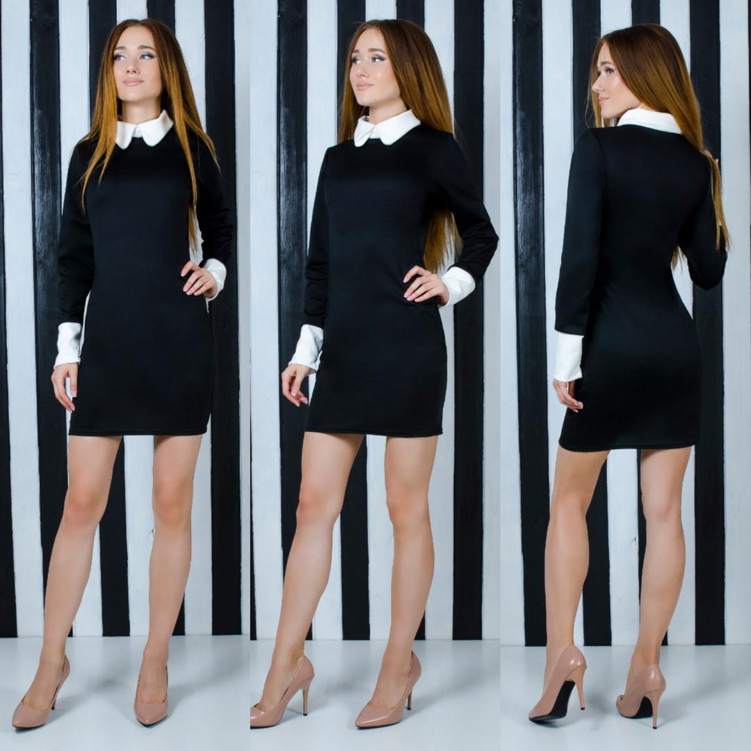 Черное платье с белым воротничком и манжетами, приталенного кроя   арт 6675-64
