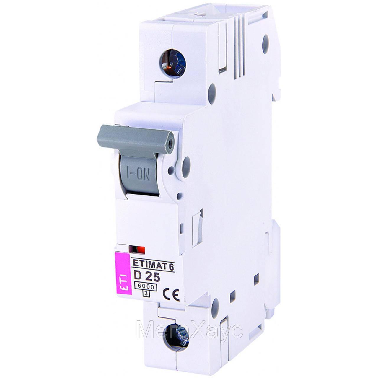 Автоматический  выключатель ETIMAT 6  1p D  25A (6kA)