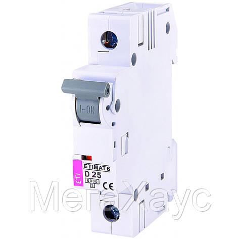 Автоматический  выключатель ETIMAT 6  1p D  25A (6kA), фото 2