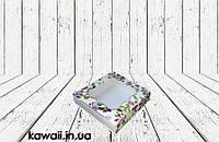 Коробка для пряников Весенний принт с окном 120*120*30