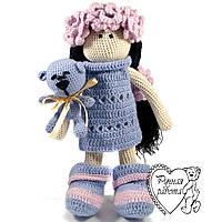 В'язана лялька у рожево-голубому з мишком дуже м'яка, велика 45 см