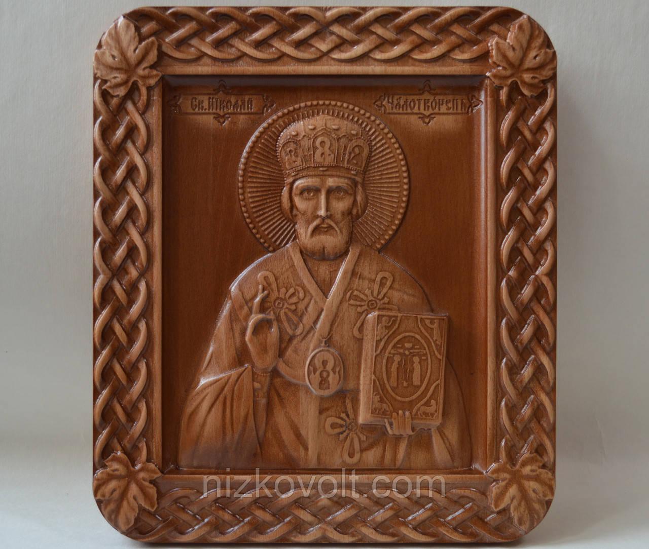 Икона Николая Чудотворца - резьба по дереву (235х275х18 мм)
