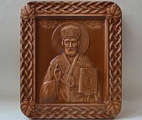 Икона Николая Чудотворца - резьба по дереву (235х275х18 мм), фото 1