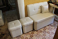 Мягкая мебель на кухню (Лавочка и два пуфа), фото 1
