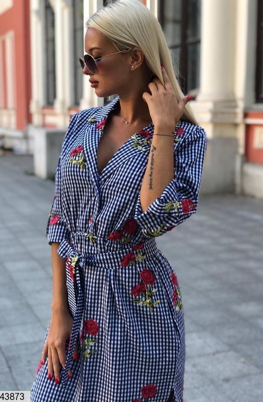 Платье рубашка хлопок с вышивкой 42-46