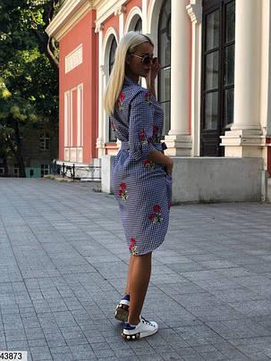 Платье рубашка хлопок с вышивкой 42-46, фото 2