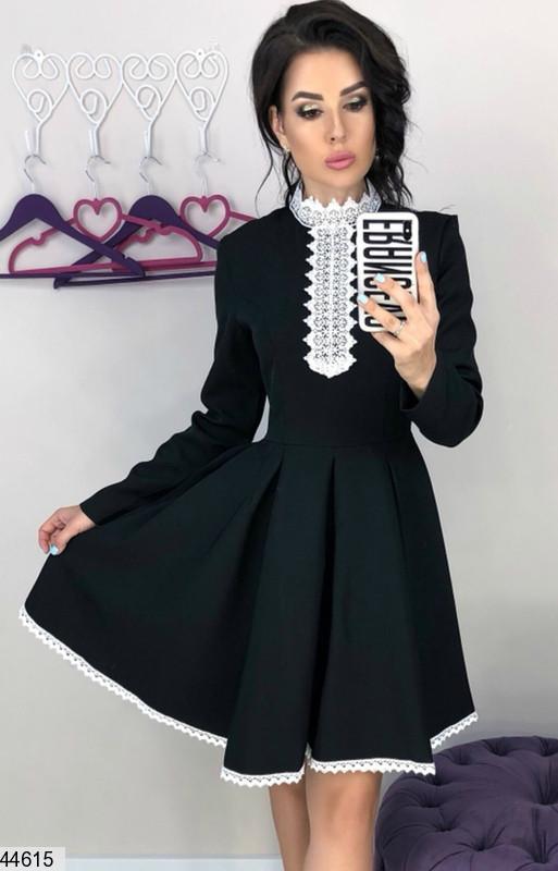 Платье для школы, офиса, работы, деловое черное с белым кружевом от 42 до 46