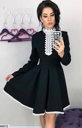 Платье для школы, офиса, работы, деловое черное с белым кружевом от 42 до 46, фото 2