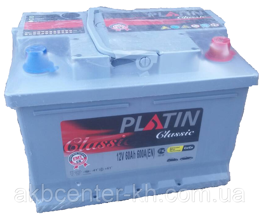 Автомобильный аккумулятор PLATIN Classic 6CT- 60Aз 580A R MF (h=175)