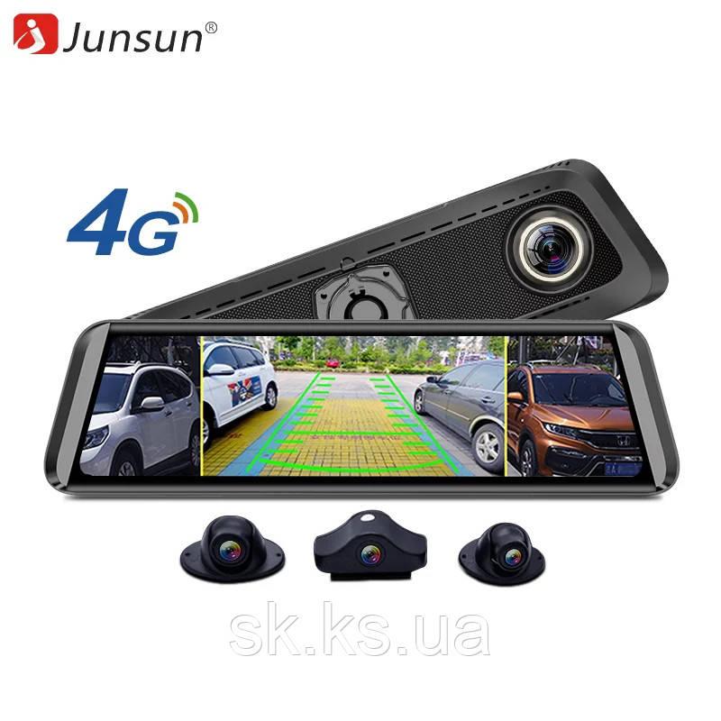 Видеорегистратор оригинал  Junsun 2019   4G- android  с 4 камерами Sony IMX323 c кронштейном