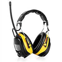 Защитные противошумные наушники с FM радио Auna yellow (новые)., фото 1