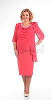 Платье Pretty-335/1 белорусский трикотаж, коралл, 56