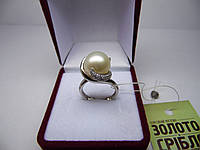 Женское золотое кольцо с бриллиантами и жемчугом, Размер 16.5, фото 1