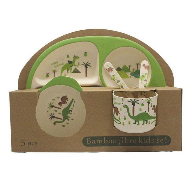 Набор детской посуды бамбуковой Eco Bamboo fibre kids set 5 предметов N02331 Green