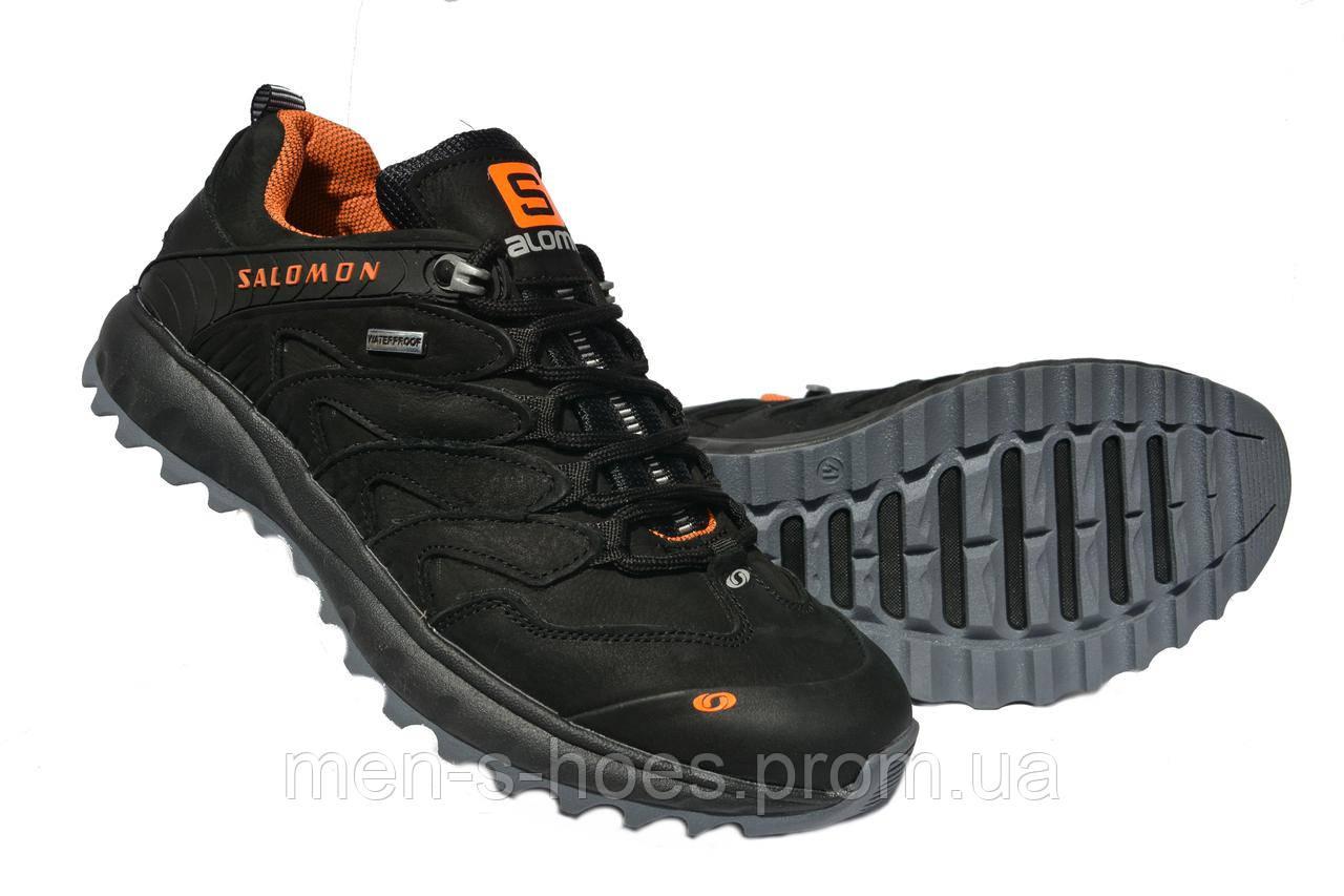 Мужские кроссовки Salomon Black кожаные черные