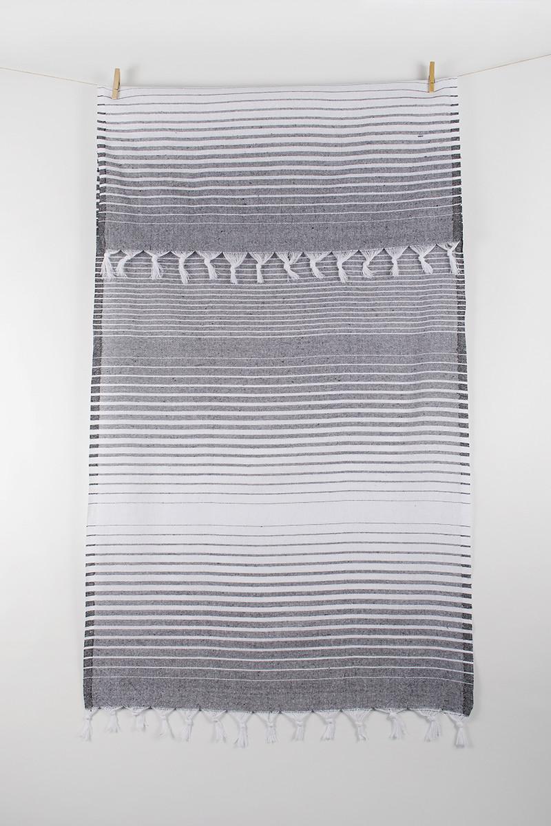 Полотенце Lotus Pestemal - Black 03 75*150 Micro stripe