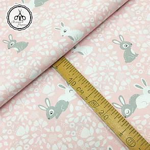 """Польская хлопковая ткань """"кролики серые, белые на розовом"""", фото 2"""