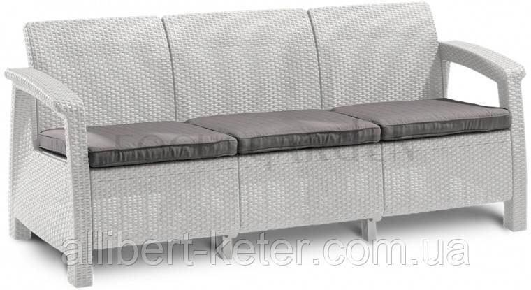 Тримісна софа зі штучного ротангу CORFU LOVE SEAT MAX білий (Allibert)