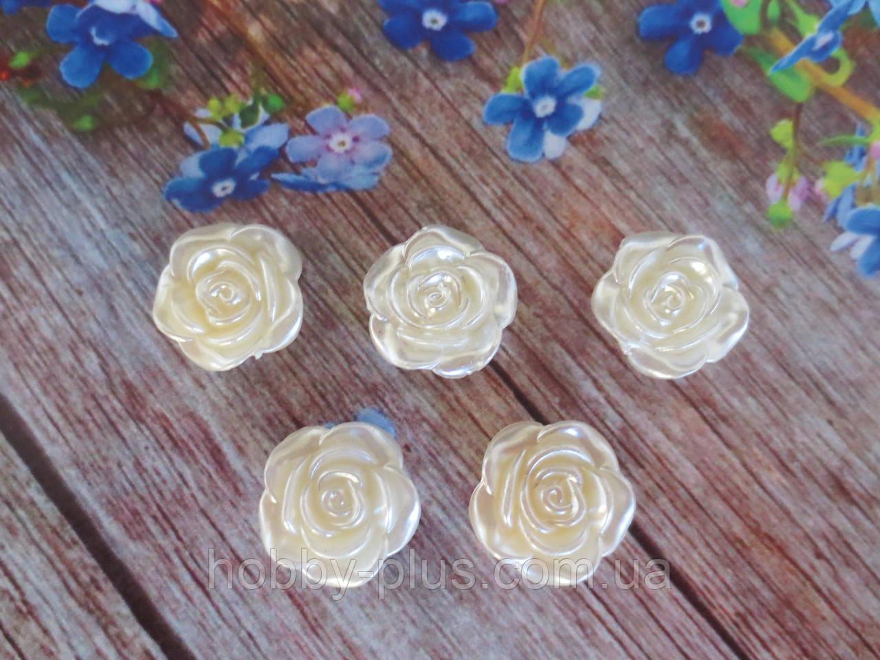 """Серединка акриловая """"Роза перламутровая"""", d 19 мм, цвет жемчужный, 5 шт."""