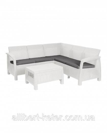 Угловий диван зі штучного ротангу CORFU RELAX SET білий (Allibert)