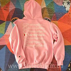 Толстовка розовая Champion | худи чемпион | кенгурушка