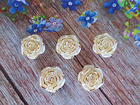 """Серединка акриловая """"Роза перламутровая с позолотой"""", d 19 мм, цвет жемчужный, 5 шт."""