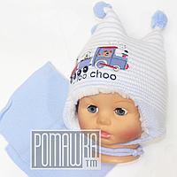 Детская зимняя вязаная шапочка с шарфиком р. 40-42 на овчине для новорожденного с завязками 4365 Голубой