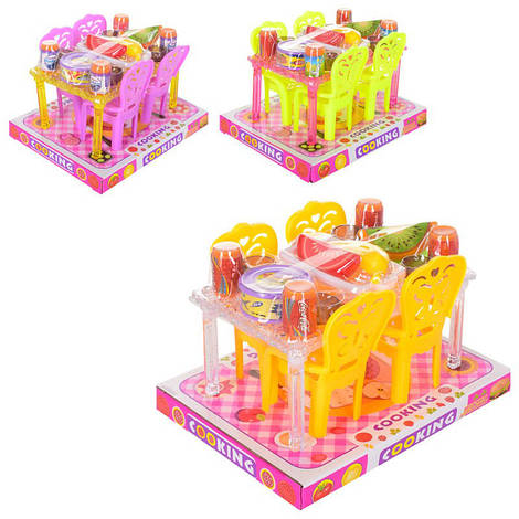 Столовая A8-852 (90шт) стол, стул 4шт, посуда, продукты, 3цвета, в слюде,18-14-11,5см