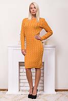 Теплое вязаное платье горловина лодочкой