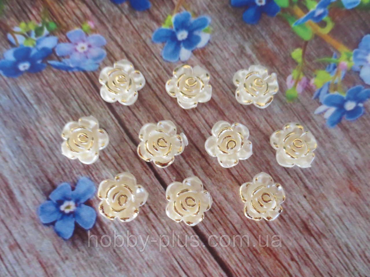 """Серединка акриловая """"Роза перламутровая с позолотой"""", d 12 мм, цвет жемчужный, 10 шт."""