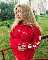 Кенгурушка Champion  • мужская и женская красная толстовка • хайп принт, фото 2