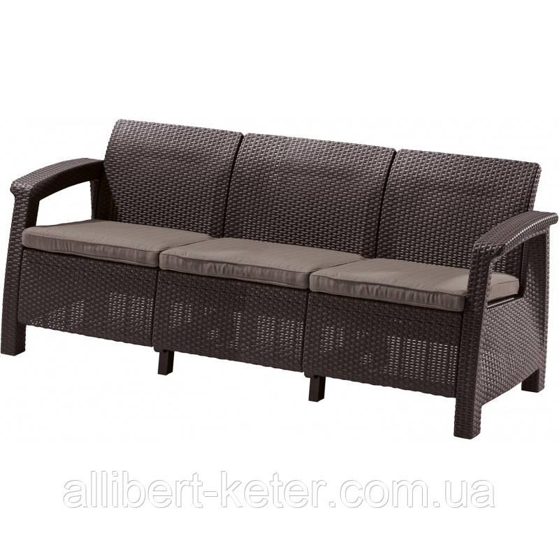 Тримісна софа зі штучного ротангу CORFU LOVE SEAT MAX темно-коричневий (Allibert)