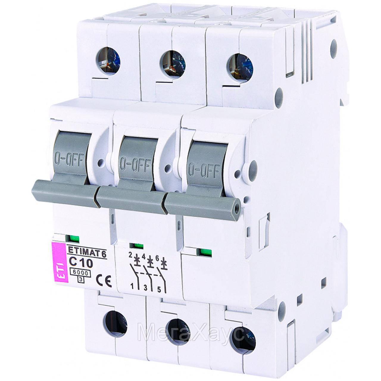 Автоматический выключатель ETIMAT 6  3p C 10А (6 kA)