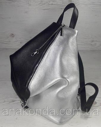 """297 Натуральная кожа, Городской рюкзак - секьюрити, комбинированный черный серебро, с карабином """"безопасность"""", фото 2"""